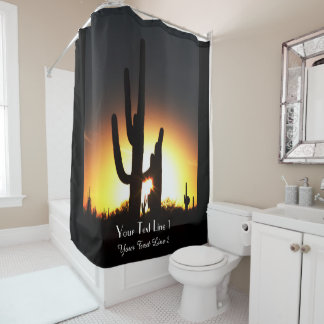 Saguaro Sunset Personalized Shower Curtain