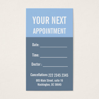 Sail Blue Slate Gray Medical Appointment Business Card