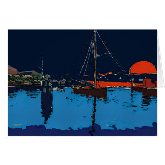 Sail Boat In Sunset Card