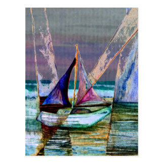 Sailboat Abstract Turquoise Sea Postcard