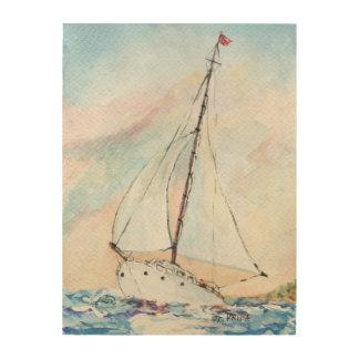 Sailboat at Sea Fine Art Watercolor Painting Wood Canvases