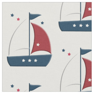 Sailboat Little Sailor Nautical Fabric