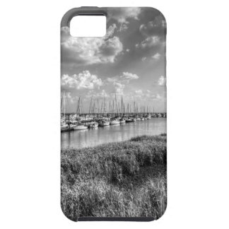Sailboat Marina and Lush Grasslands Black White iPhone 5 Cover