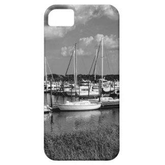 Sailboat Marina Landscape in Black and White iPhone 5 Covers