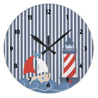 Sailboat Nautical Theme Childrens learning Clock