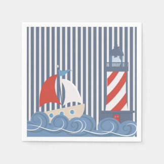 Sailboat Nautical Themed Paper Napkin
