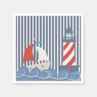 Sailboat Nautical Themed Paper Napkin Standard Cocktail Napkin