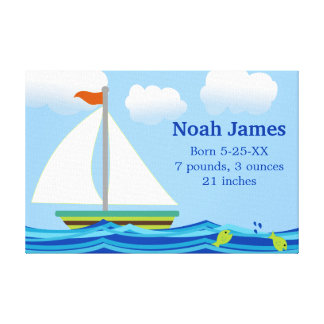 Sailboat Personalized Baby's Nursery Print