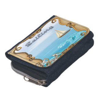 Sailboat - Sailing Denim Coin Purse Wallet