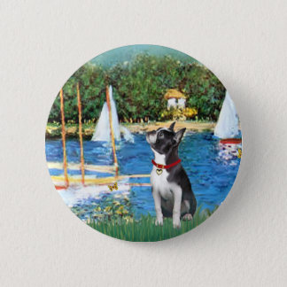 Sailboats - Boston Terrier #@ 6 Cm Round Badge
