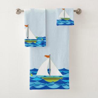 Sailboats Brown And Green Bath Towel Set