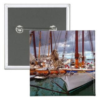 Sailboats Morred At Key West 15 Cm Square Badge