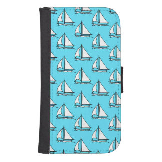 Sailboats On Blue Sea Pattern Samsung S4 Wallet Case