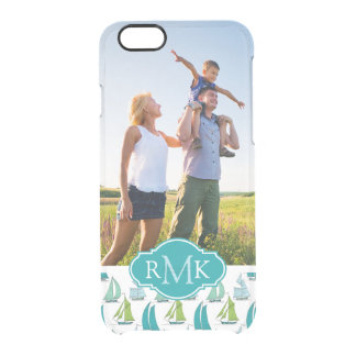 Sailboats On Graph Pattern| Your Photo & Monogram Clear iPhone 6/6S Case