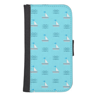 Sailboats On The Blue Sea Pattern Samsung S4 Wallet Case