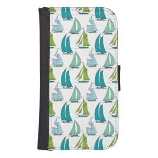 Sailboats On The Water Pattern Samsung S4 Wallet Case