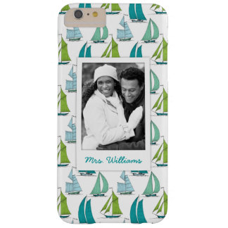 Sailboats On Water Pattern | Your Photo & Name Barely There iPhone 6 Plus Case