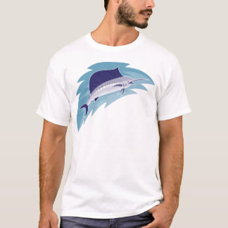 sailfish jumping retro style T-Shirt