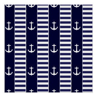 Sailing anchor and stripes pattern poster