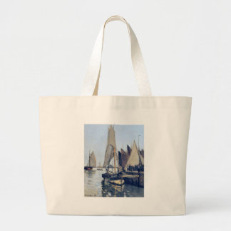 Sailing Boats at Honfleur by Claude Monet Large Tote Bag