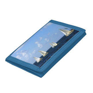 Sailing Boats Wallet on Deep Blue Sea