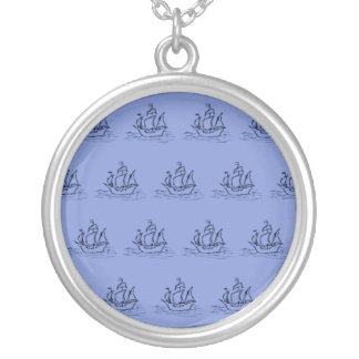 Sailing Ship Pattern. Mid Blue. Silver Plated Necklace