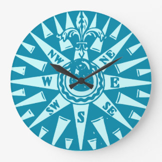 Sailor Blue Compass clock