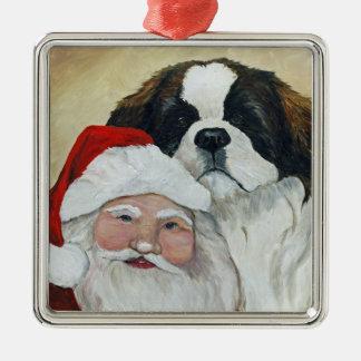 Saint Bernard and Santa Dog Art Ornament