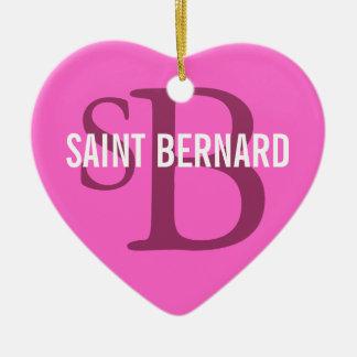 Saint Bernard Breed Monogram Christmas Ornament