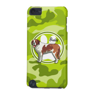 Saint Bernard; bright green camo, camouflage iPod Touch (5th Generation) Cases