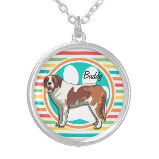 Saint Bernard Bright Rainbow Stripes Custom Necklace