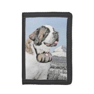 Saint Bernard Painting - Cute Original Dog Art Tri-fold Wallet