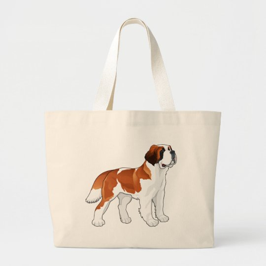 Saint Bernard Puppy Dog Love Canine Large Tote Bag