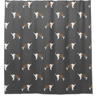 Saint Bernard Silhouettes Pattern Shower Curtain