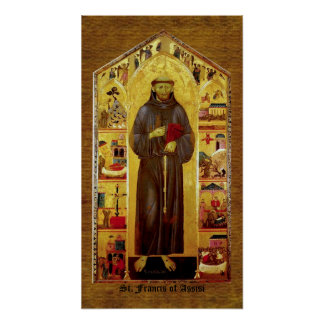 Saint Francis of Assisi Mediaeval Iconography Poster