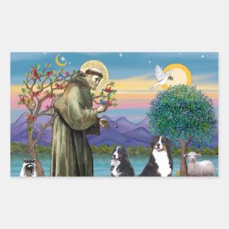Saint Francis - Two Bernese Mountain Dogs Rectangular Sticker
