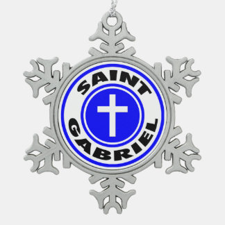 Saint Gabriel Snowflake Pewter Christmas Ornament