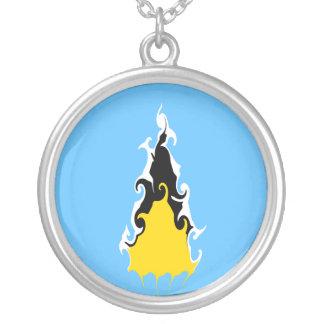 Saint Lucia Gnarly Flag Round Pendant Necklace