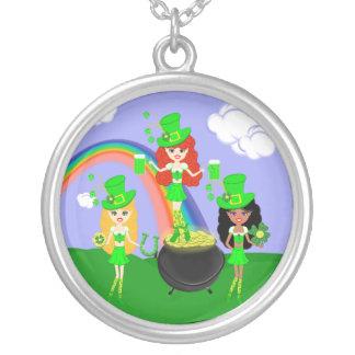 Saint Patrick's Day Girl Leprechauns Personalized Necklace