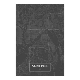 Saint Paul, Minnesota (white on black) Poster