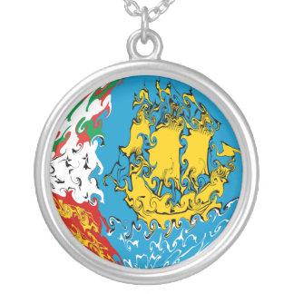Saint Pierre and Miquelon Gnarly Flag Round Pendant Necklace