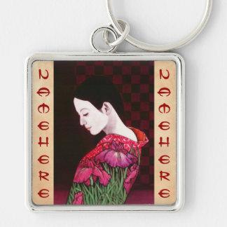 Saito Kaoru Japanese Iris japanese lady kimono art Key Ring