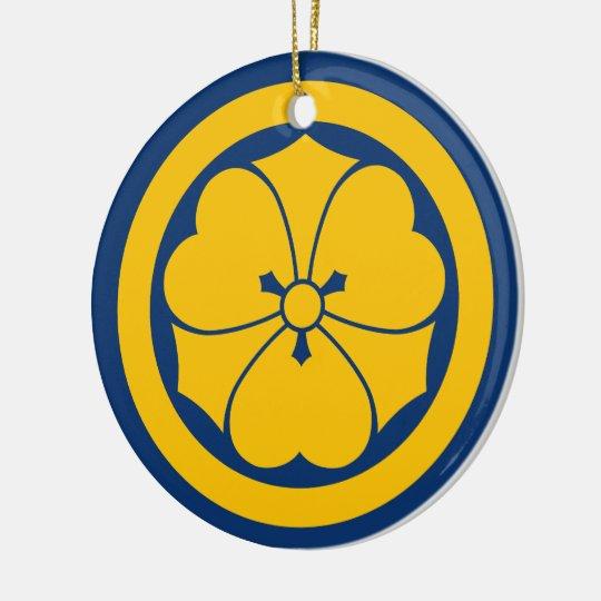 Sakai Mon Japanese samurai clan yellow on blue Round Ceramic Decoration