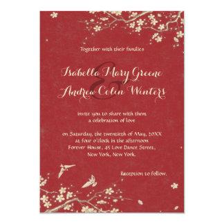 Sakura and Doves 13 Cm X 18 Cm Invitation Card