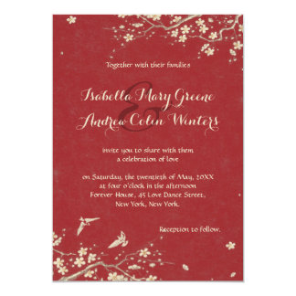 Sakura and Doves 5x7 Paper Invitation Card