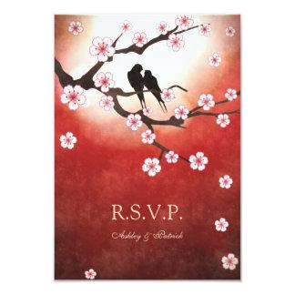 Sakura and Love Birds RSVP 9 Cm X 13 Cm Invitation Card