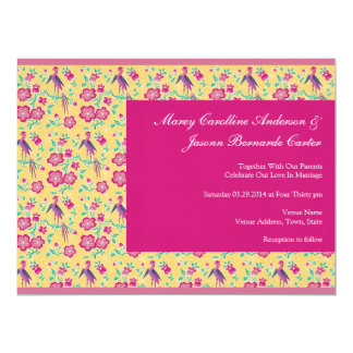 Sakura Batik Pattern pink Large Wedding Invite