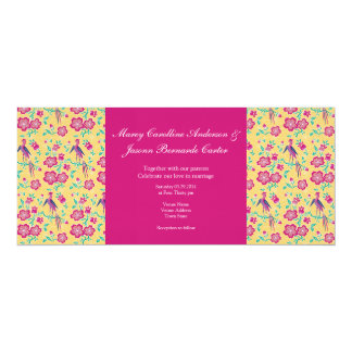 "Sakura Batik Pattern pink Long Wedding Invitation 4"" X 9.25"" Invitation Card"