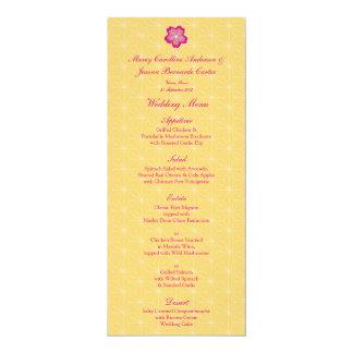 Sakura Batik Pattern Wedding Menu 4x9.25 Paper Invitation Card