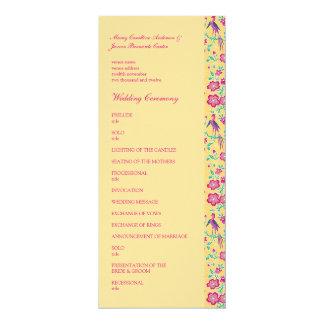 Sakura Batik Pattern Wedding Program 4x9.25 Paper Invitation Card